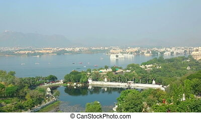 Udaipur panorama - Panoramic view of the Indian city of...