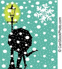 Lamp post In the Snow - A couple kissing during a snow storm...