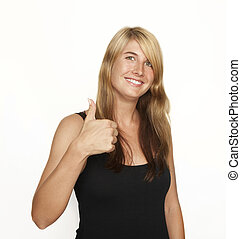 smiling woman thumbs up - a young woman with blonde hair in...