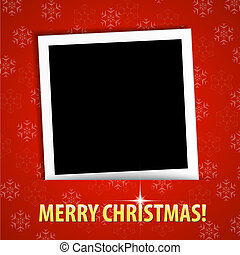 Merry Christmas greeting card with blank photo frame Vector...