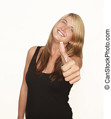 young woman thumbs up - a young woman with blonde hair in...