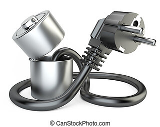 abierto, batería, cargador, con, plug., ,