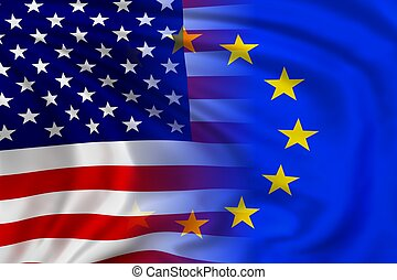 USA and EU flag waving in the wind High quality illustration...