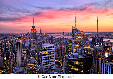 New York City Midtown at Sunset - New York City Midtown with...