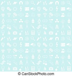 Science background - Blue seamless vector pattern with...