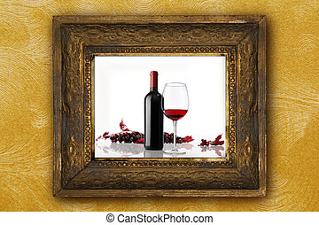 wine bottle with glass and bunch of red grapes on old classic wo
