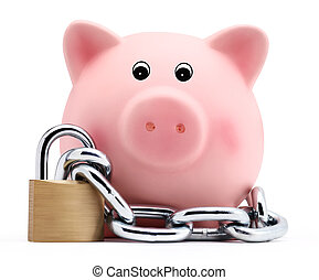 piggy bank with chain and padlock isolated on white...
