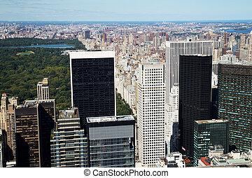都市, 航空写真,  midtown, 公園, ヨーク, 中央である, 新しい, 光景