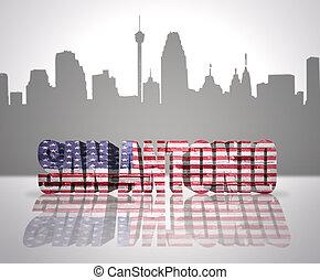 View of San Antonio City - Word San Antonio with National...