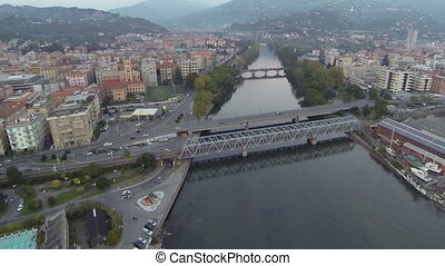 Aerial view of bridges across river - Aerial view of bridges...