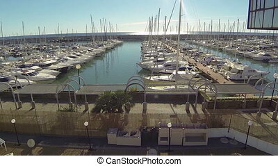 Aerial view of marina in Italy - Aerial view of boats docked...