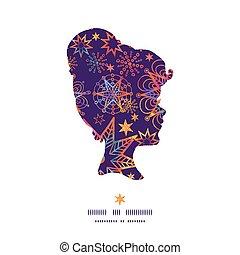Vector textured christmas stars girl portrait silhouette pattern frame