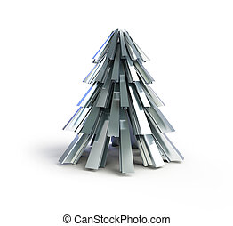 Christmas tree .fir tree metal on a white background - fir...
