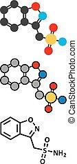 Zonisamide epilepsy drug molecule Conventional skeletal...
