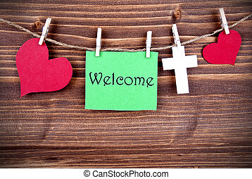 Green Tag Saying Welcome - Green Tag With Hearts And Cross...