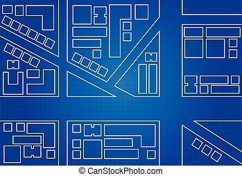 Blueprint Of City Map Main Street And Buildings