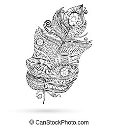 Ethnic doodle feather on white background. - Artistically...