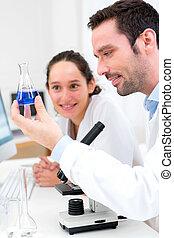 científicos, trabajando, juntos, en, Un, laboratorio,...