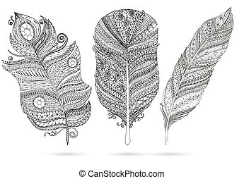 Vector set of doodle feathers on white background. -...