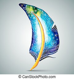 Vector watercolor feather with swirl doodle pattern -...