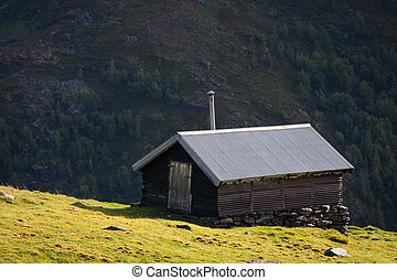 mountain cabin - rural mountain cabin on a hill high at the...