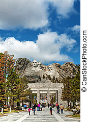 Mount Rushmore monument with tourists near Keystone, SD -...