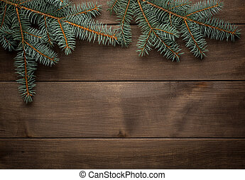 Blank scroll for text between fir twigs on dark - Christmas...