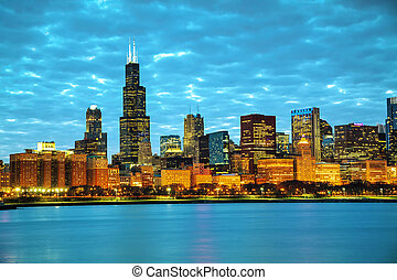 Chicago downtown cityscape in the night