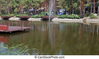 Beautiful lake and pines in the hotel.