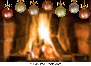fireplace - Fireplace with fire and hanging Christmas...
