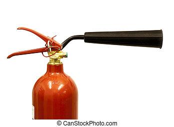 cierre, Arriba, de, Un, CO2, fuego, Extintor,