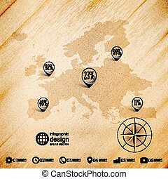 Europe map, wooden design background, infographics vector...