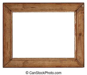 viejo, de madera, marco, en, blanco, Plano de fondo,