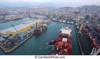 Aerial view of the port in Genoa - Aerial view of the port...