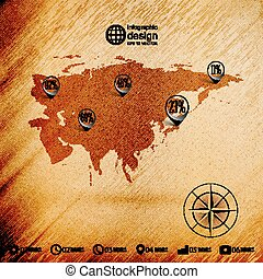 Eurasia map, wooden design background, infographics vector...