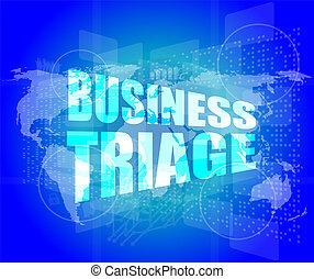 empresa / negocio, triage, palabras, en, Tacto, pantalla,...