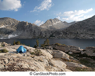 Backpack Tent and Lake - A backpack tent overlooks 10,568\'...