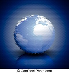 World globe blue geometric background, abstract triangle pattern vector