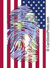 World Map finger print with US flag