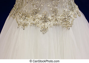 Rhinestones on bridal gown - Detail of bridal gown with...