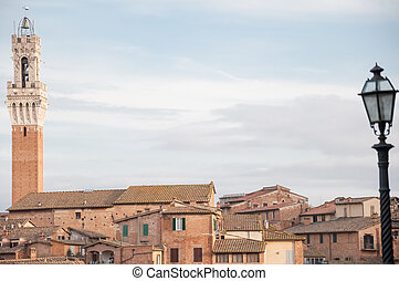 landscape of siena with tower of Mangia - beautiful...