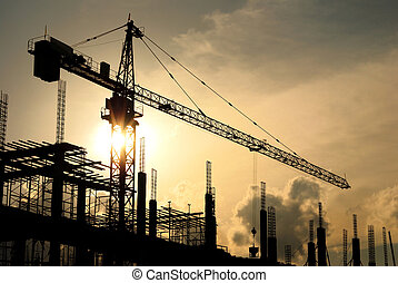 construction  - silhouette of construction site