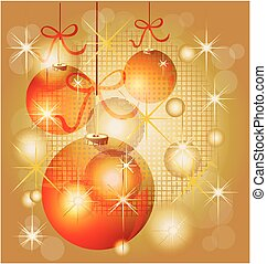 Christmas balls in gold background
