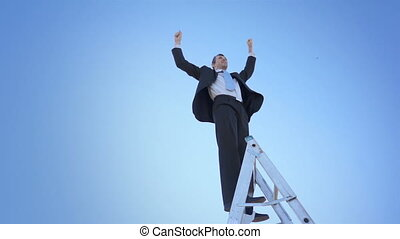 Businessman Ladder Champion Hands - A businessman in a suit...
