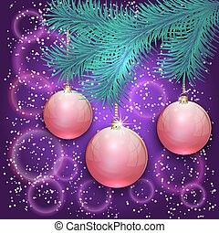 Vector christmas illustration with blue tree branch and balls on bokeh background