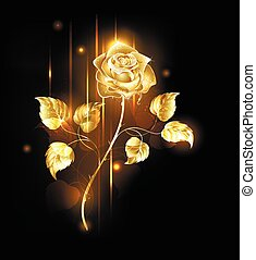 Golden Rose - Glowing golden rose on a black background