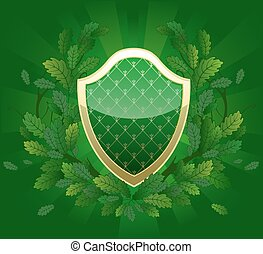 green shield with a royal pattern, decorated with oak...