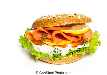 Smoked salmon bagel - Delicious Smoked Salmon Bagel...
