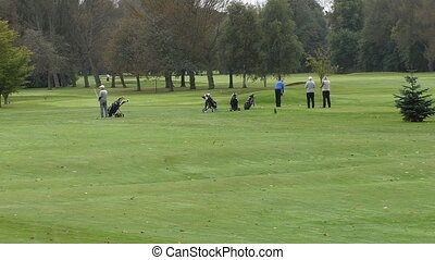 Senior golfers playing golf - Senior golf players watching...