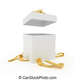 Unpacked present - Big unpacked gift box with golden ribbon...